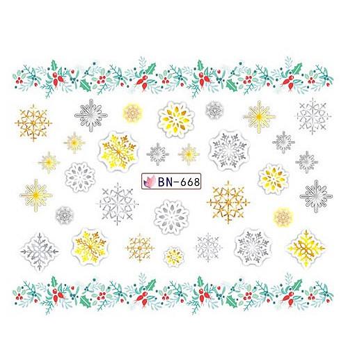 KATTi Наклейки водные - BN 668 - снежинки цветные (новый год)