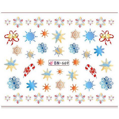 KATTi Наклейки водные - BN 669 - снежинки цветные (новый год), фото 2