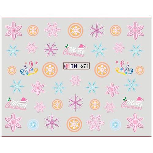 KATTi Наклейки водные - BN 671 - снежинки цветные (новый год)