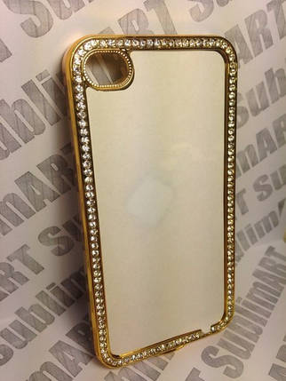 Чехол для 2D сублимации пластиковый Iphone 4/4S со стразами золотой, фото 2
