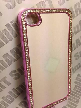 Чехол для 2D сублимации пластиковый Iphone 4/4S со стразами розовый хром, фото 2