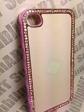 Чехол для 2D сублимации пластиковый Iphone 4/4S со стразами розовый хром
