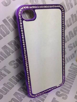 Чехол для 2D сублимации пластиковый Iphone 4/4S со стразами фиолетовый хром, фото 2