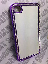 Чехол для 2D сублимации пластиковый Iphone 4/4S со стразами фиолетовый хром