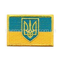 """Нашивка шеврон """"Флаг Украины с гербом"""" клей"""
