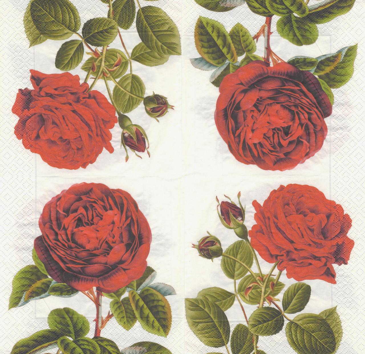 Салфетка декупажная Красная роза 7517