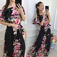 Женское летнее платье Волан пол. Размеры 1 (с 42-48), 2 (46-52) цвета как на фото