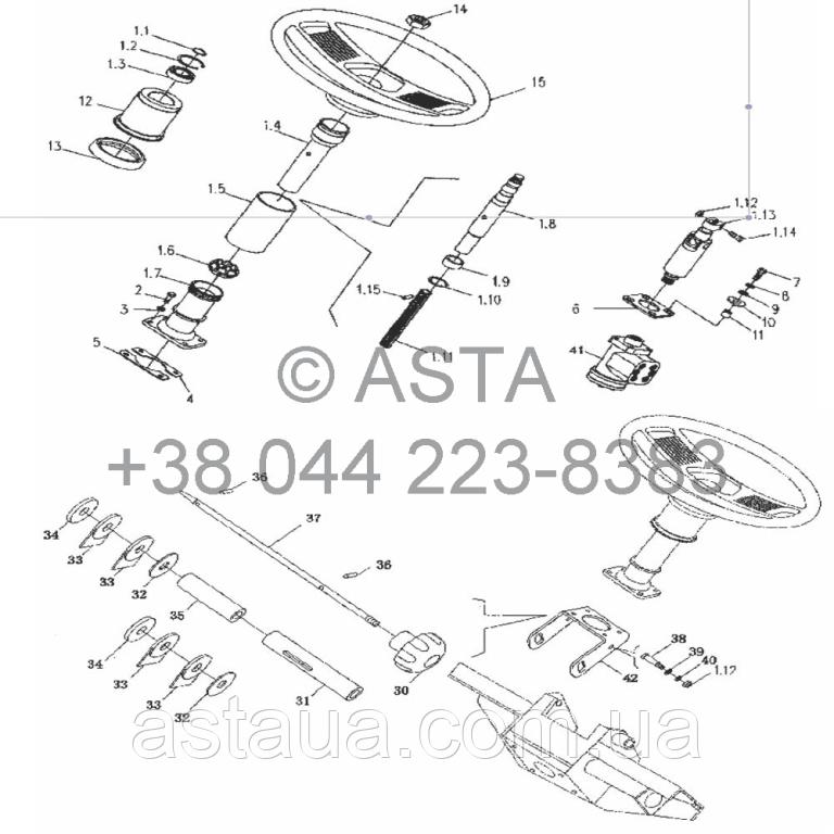 Рулевое управление (регулироваемое) на YTO X704