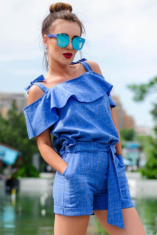 Жіночий костюм з шортами Симона блакитний