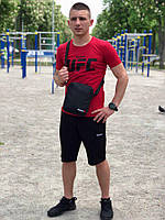 Шорты + Футболка + Подарок! Летний мужской спортивный костюм! черно-красный