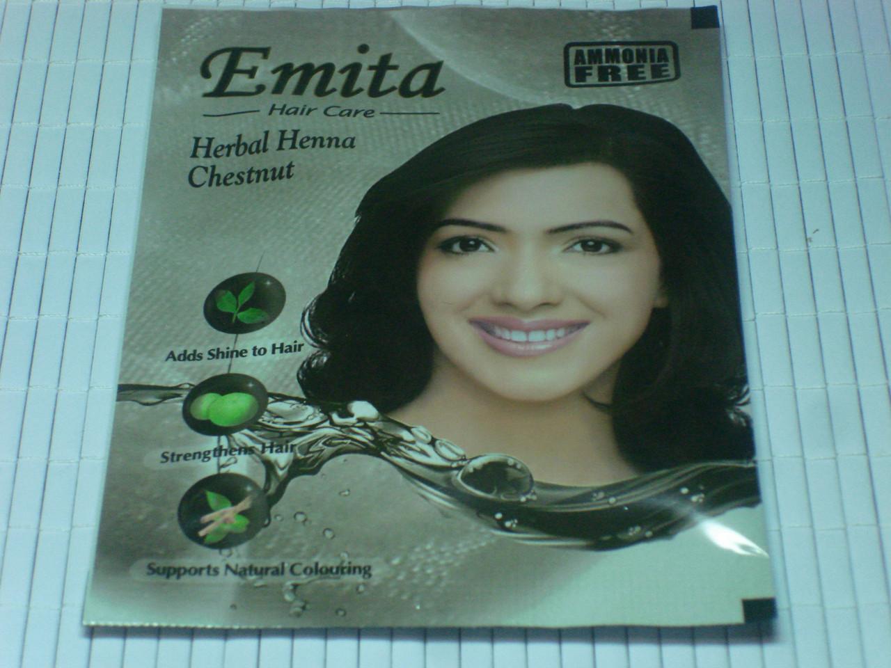 """Хна для окрашивания волос Эмита """"Emita"""" Каштановый Орех Честнут Chestnut Индия"""