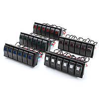 6 LED 12V / 24V Rocker Switch Panel Вкл. / Выкл. Моторная лодка Marine W / Jumper Провод Набор