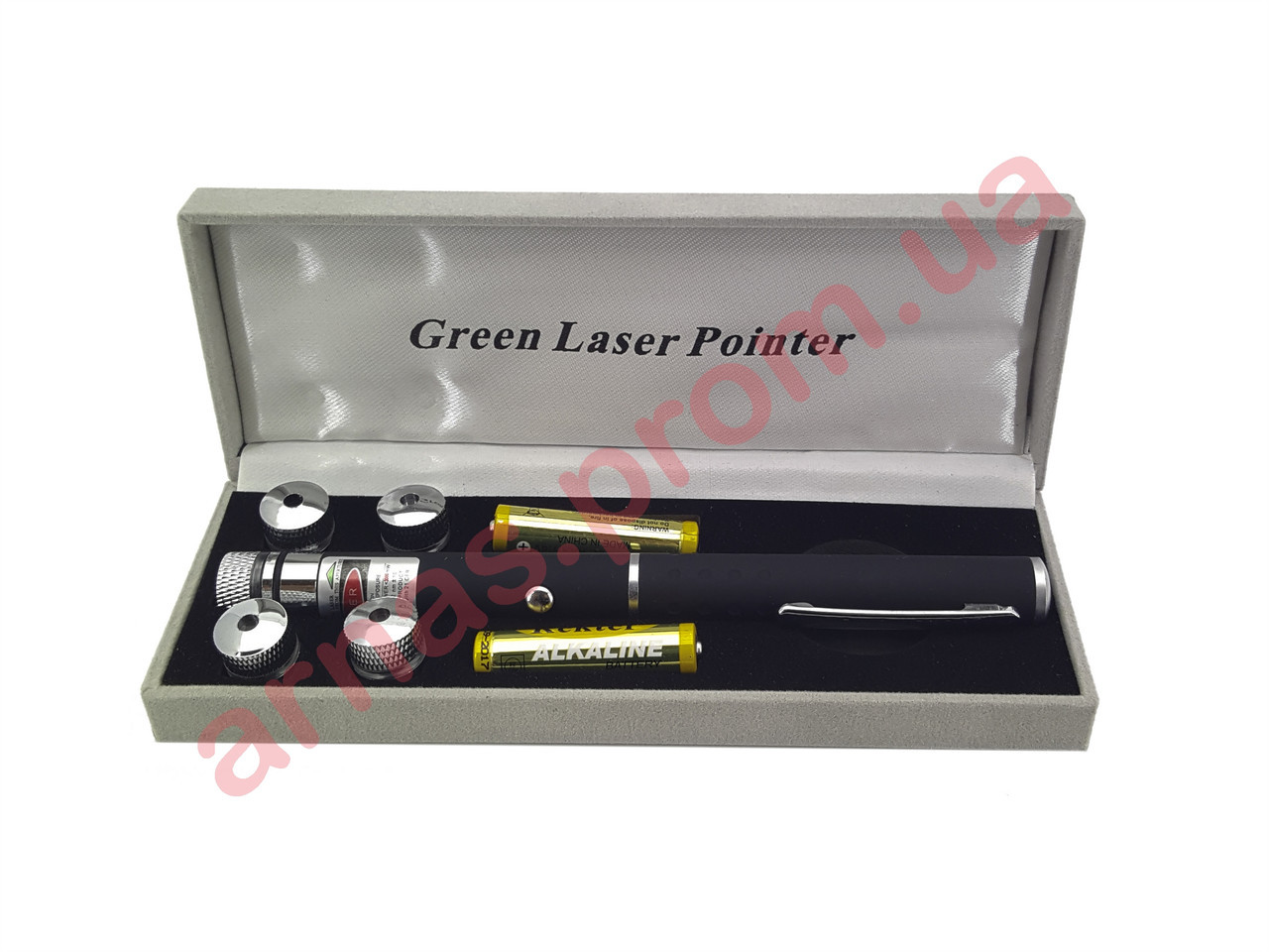Лазерная указка Green Laser Pointer, зеленый лазер, 5 насадок