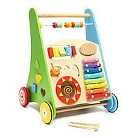 Деревянные детские ходунки 4-х колесные малыша для детей Colorful Музыкальные игрушки Learn Walk