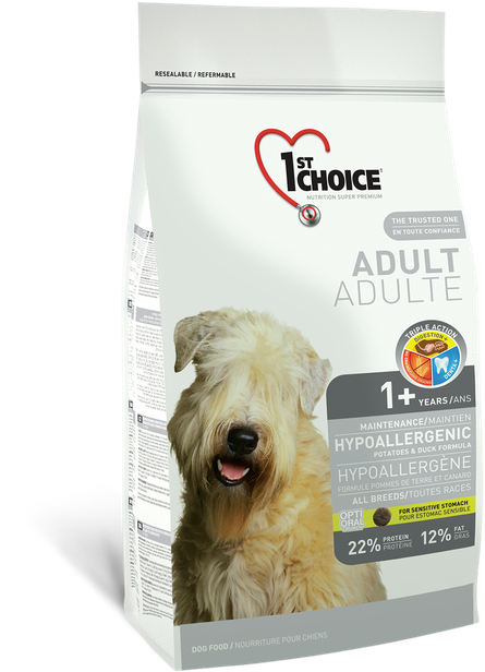 Сухой корм гипоаллергенный для взрослых собак всех пород 1st Choice с уткой и картошкой 2,72 кг