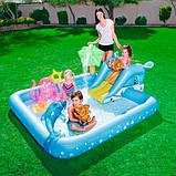 Игровой центр Bestway 53052 Аквариум 239 х 206 х 86 см, надувной бассейн с горкой и игрушками, фото 2