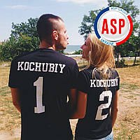 Футболки парные для влюбленных king queen love is именные с фамилией и номером