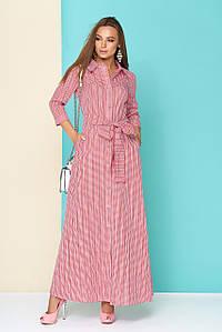 Красивое платье рубашка на лето в пол приталенное рукав три четверти красное в клетку