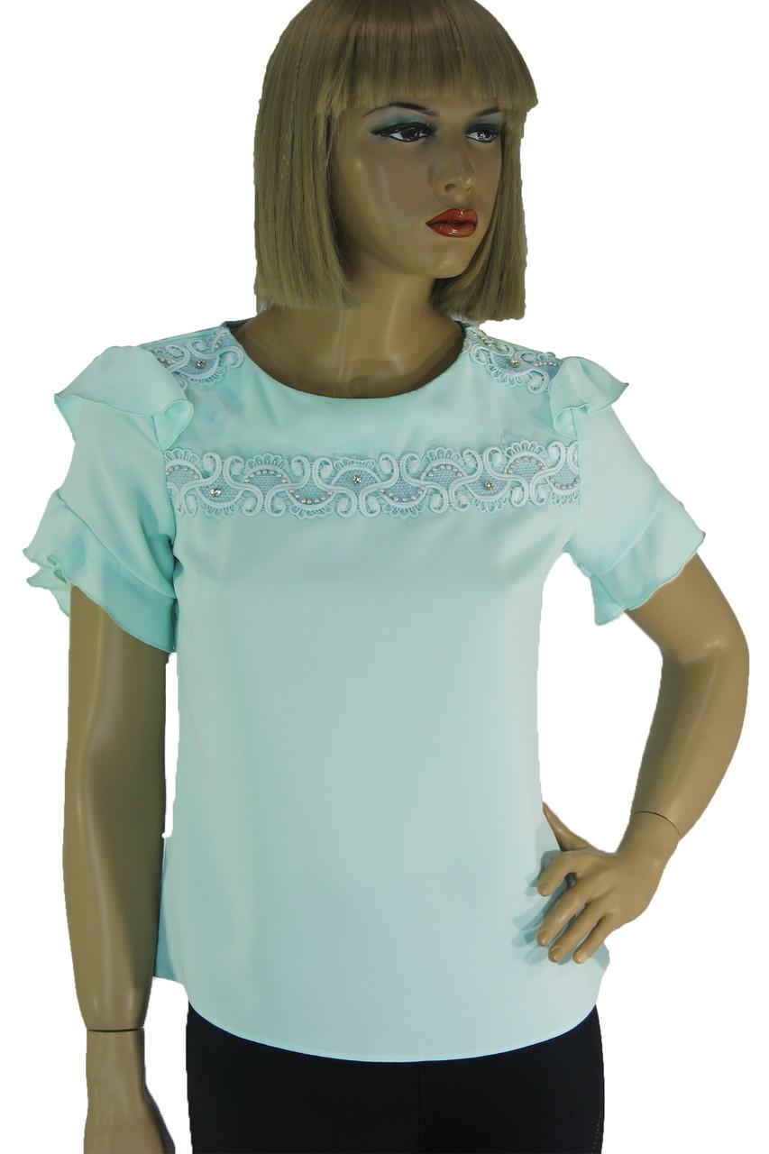 Нарядна  блузка з мереживом і рюшами Esay