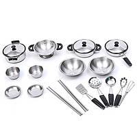 20PCS из нержавеющей стали Pretend Play Кухонные игрушки Мини-модель посуды Игрушки Set