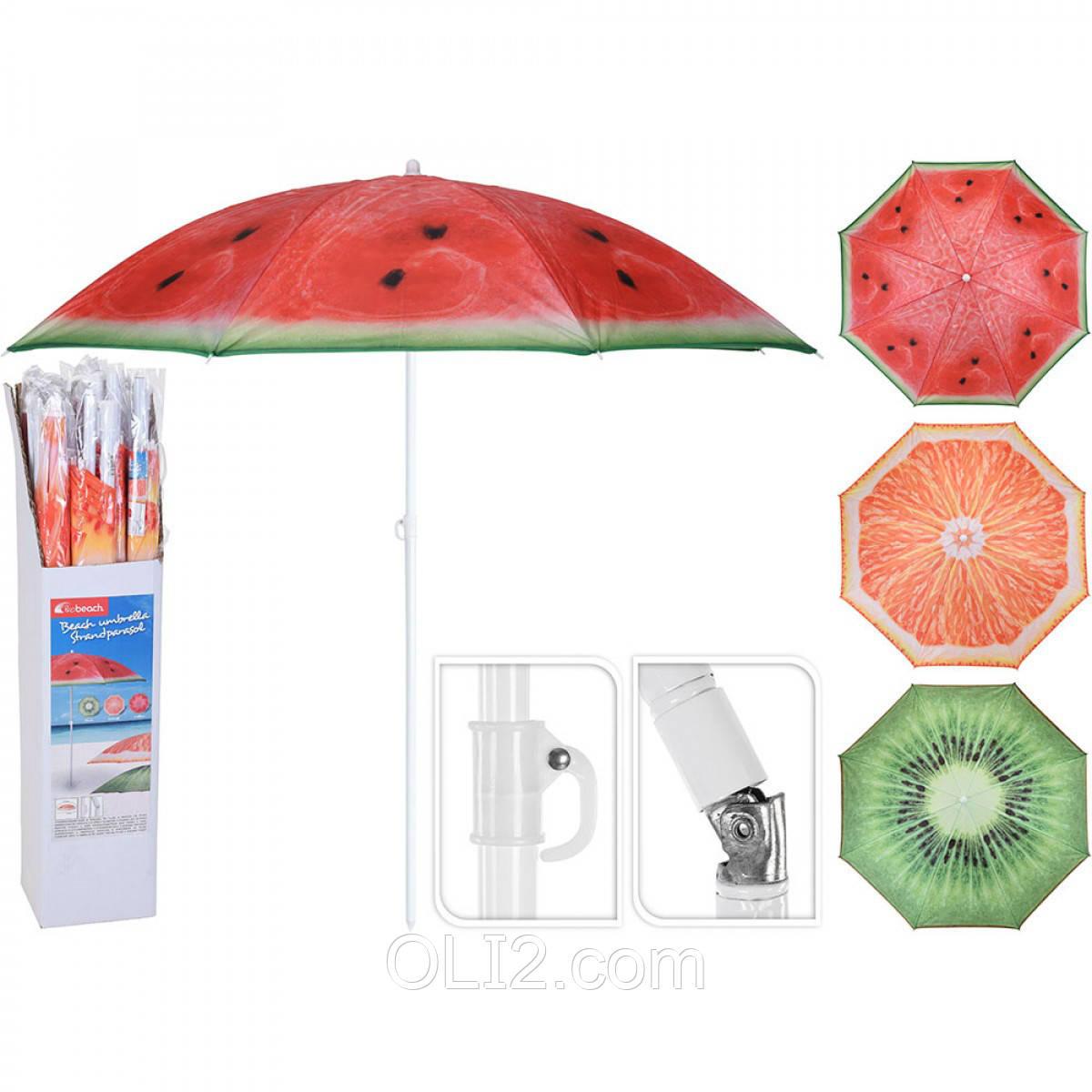 Пляжный зонт с наклоном и фруктовым принтом + защита от ультрафиолета