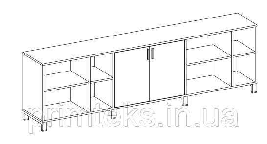 Шкаф низкий тройной двухцветный Trio/ Quattro 2400*400*750h