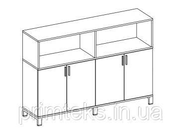 Шкаф средний двойной одноцветный Trio/ Quattro 1600*400*118h