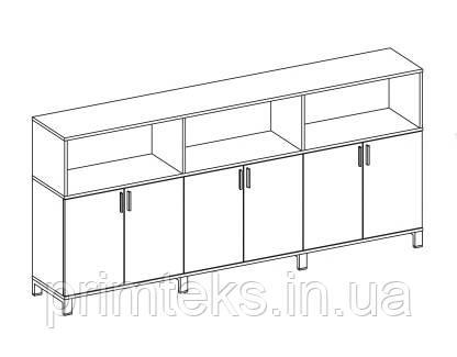 Шкаф средний тройной двухцветный Trio/ Quattro 2400*400*118h