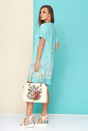 Летнее платье мини свободное льняное с коротким рукавом голубое, фото 2