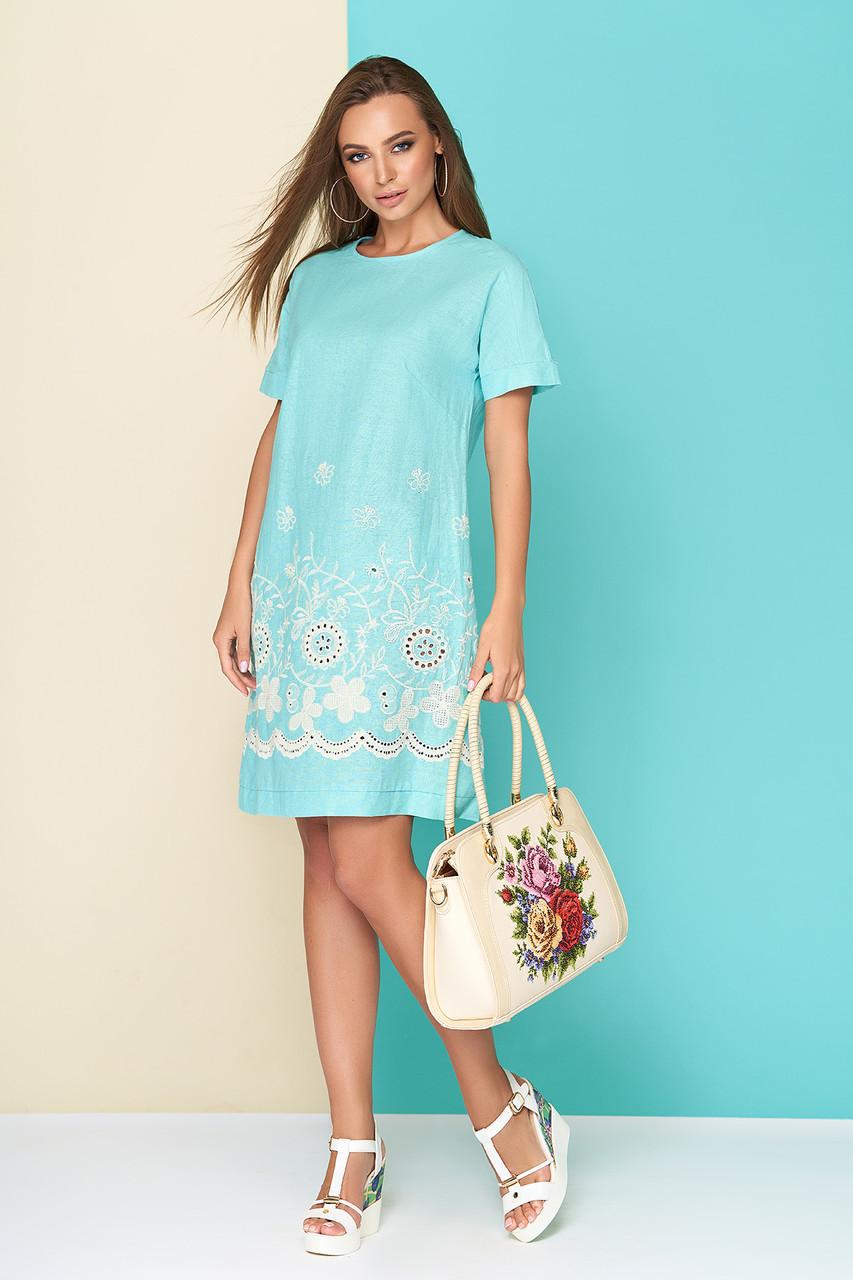 Летнее платье мини свободное льняное с коротким рукавом голубое