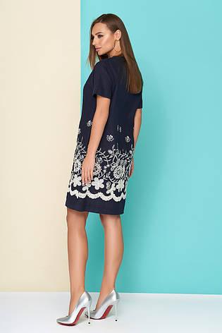 """Льняное женское платье """"L 612"""" с оригинальной нашивкой - темно-синее, фото 2"""