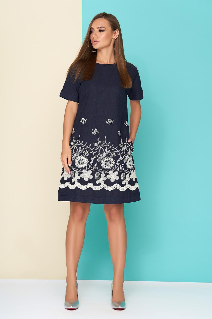 """Льняное женское платье """"L 612"""" с оригинальной нашивкой - темно-синее"""