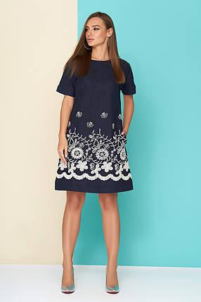 8625c15c630 Модное платье мини трапецевидное короткий рукав лен и прошва темно синее