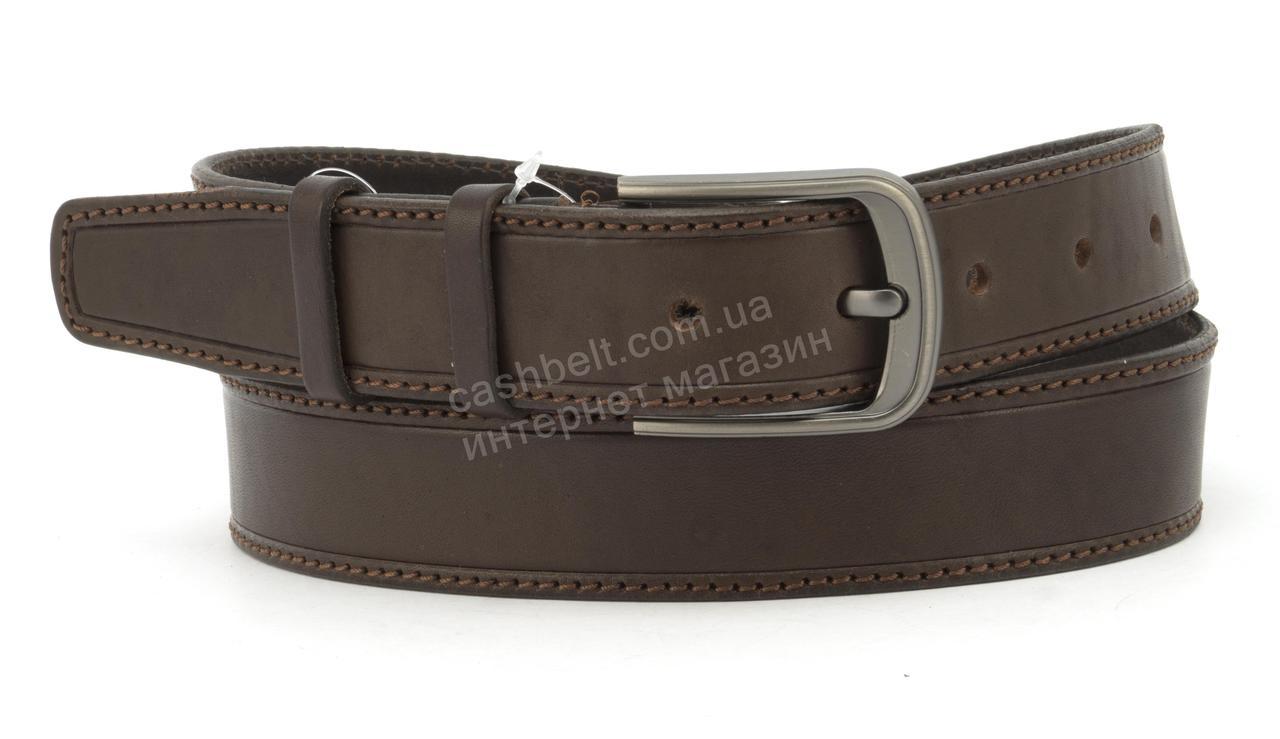 Ремень мужской под джинсы с натуральной прочной кожи4см (102788) Украина коричневый