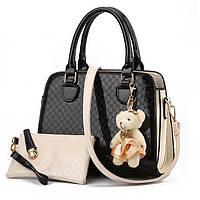 Привлекательная и стильная женская сумка 22*9*13см. Черная, бежевая, красная
