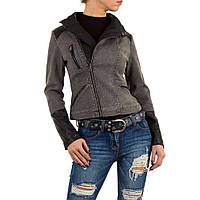 Байкерская джинсовая куртка с экокожей Vivo Modo (Италия) Серый