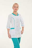 Медицинский женский костюм на пуговицах с завязкой батист 42-60р. Хелслайф, фото 1