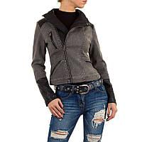 Байкерская джинсовая куртка с экокожей Vivo Modo (Италия) Серый  L/40