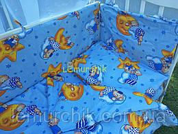 """Постільний набір в дитячу ліжечко (8 предметів) Premium """"Ведмедики на місяці"""" синій"""