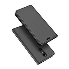 Чехол книжка для LG K8 2018 боковой с отсеком для визиток, DUX Ducis, серый