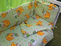 """Постельный набор в детскую кроватку (8 предметов) Premium """"Мишки на луне"""" зеленый"""