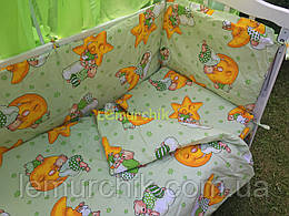 """Постільний набір в дитячу ліжечко (8 предметів) Premium """"Ведмедики на місяці"""" зелений"""