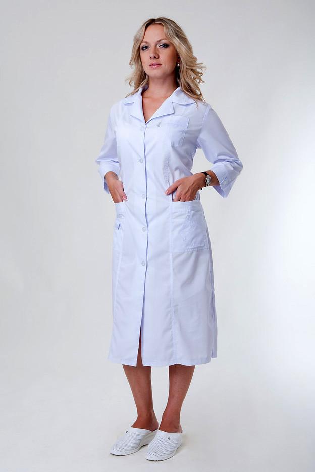 Медицинский женский халат на пуговицах батист 48-66р. Хелслайф