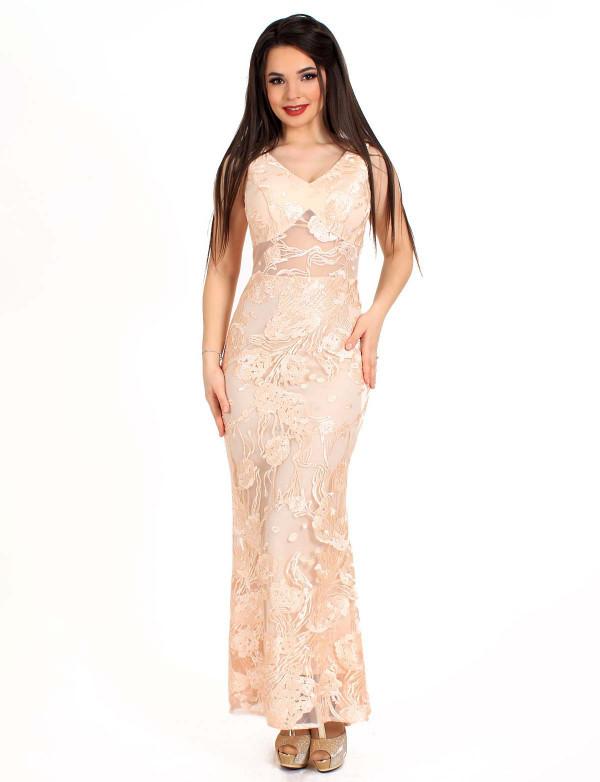 Женское вечернее платье ENIGMA MKENG3070 розовое макси в пол