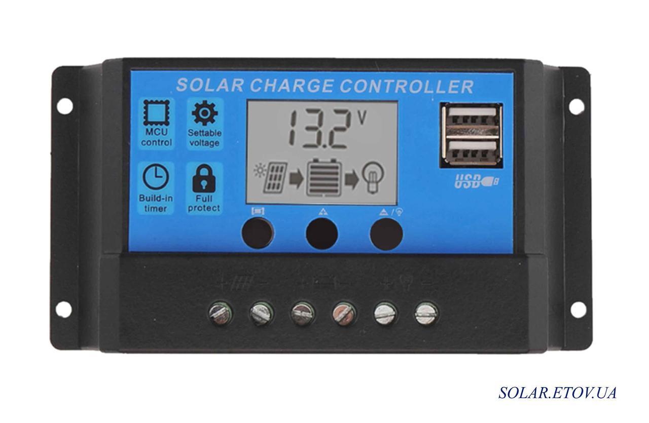 Контроллер 20А 12В / 24В с дисплеем  2 USB гнезда