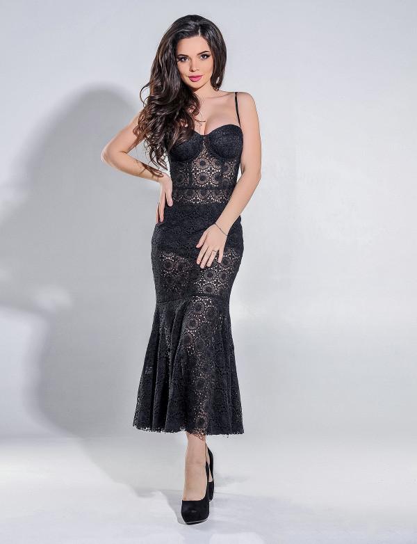 Платье женское чёрное  вечернее ENIGMA MKENG 3059