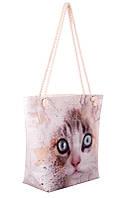 Сумка  женская текстильная  Френди  фотопринт котенок
