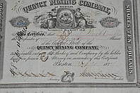 Акция. QUINCY MINING COMPANY . 1874 год (41) 22*20