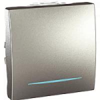 MGU3.203.30N Выключатель проходной 1-клавишный с подсветкой, алюминий Schneider Electric Unica