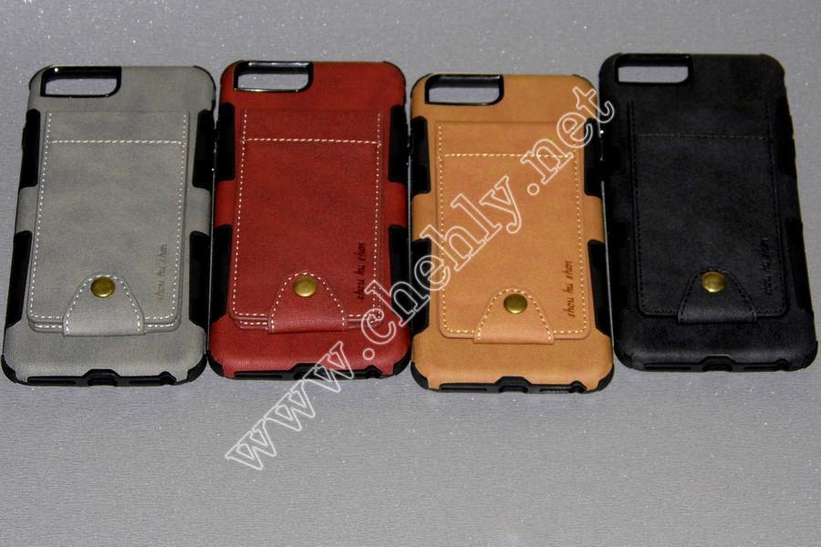 Силиконовый чехол с кожаным кошельком на спинке iPhone 6 Plus / 7 Plus